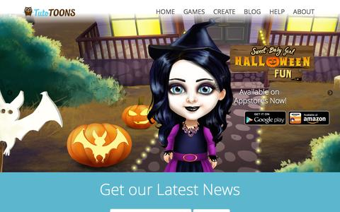 Screenshot of Home Page tutotoons.com - TutoTOONS - Easy, Drag and Drop Mobile Game Builder. Make Games for iPhone, iPad, Android and Amazon Devices. - captured Jan. 13, 2016