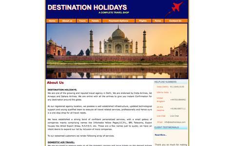 Screenshot of About Page destinationholidays.in - Destination Holidays Travel Tour Agency Delhi - captured Jan. 7, 2016