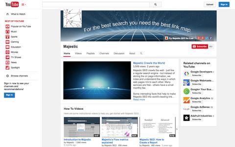 Screenshot of YouTube Page youtube.com - Majestic  - YouTube - captured Oct. 23, 2014