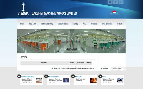 Screenshot of Jobs Page lakshmimach.com - Careers | LAKSHMI MACHINE WORKS LIMITEDLAKSHMI MACHINE WORKS LIMITED - captured Oct. 22, 2014