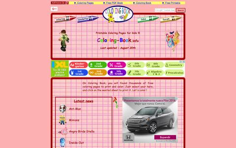 Screenshot of Home Page coloring-book.info - Coloring pages for kids on Coloring-Book.info - captured Sept. 20, 2015