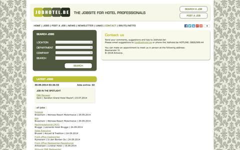 Screenshot of Contact Page jobhotel.be - Jobhotel.be | Contact us - captured Sept. 30, 2014
