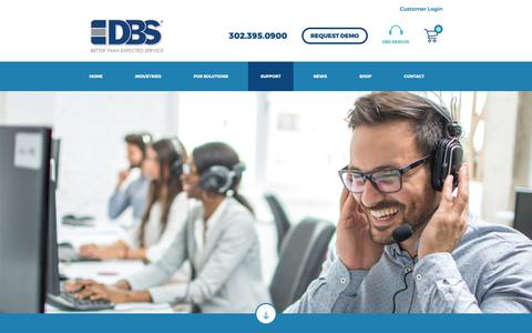 Screenshot of Support Page dbs4pos.com - Support – DBS - captured Oct. 8, 2018