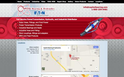 Screenshot of Locations Page capitolbearing.net - Industrial Hoses, Inventory Management   Round Rock, TX   Locations - captured Oct. 1, 2014