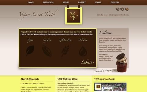 Screenshot of Home Page vegansweettooth.com - Vegan Sweet Tooth | Cleveland, Ohio - captured March 1, 2016