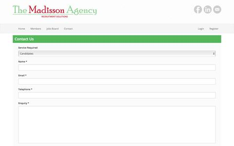Screenshot of Contact Page themadissonagency.com - The Madisson Agency - captured Nov. 10, 2017