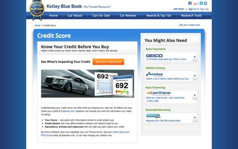 Screenshot of kbb.com - Credit Score - Kelley Blue Book - captured Dec. 9, 2016