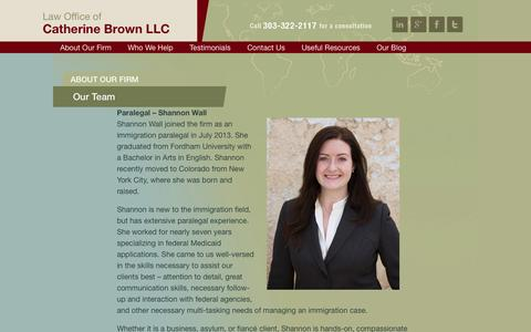 Screenshot of Team Page cbrownlaw.com - Our Team | Law Office of Catherine Brown - captured Oct. 2, 2014