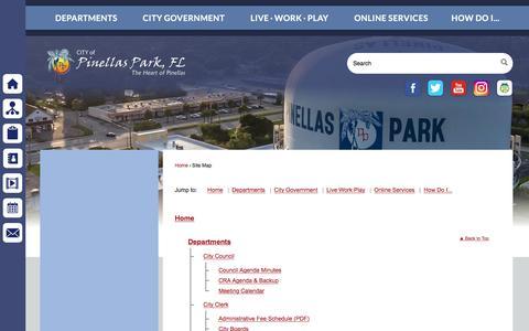 Screenshot of Site Map Page pinellas-park.com - Pinellas Park, FL - captured Sept. 23, 2018