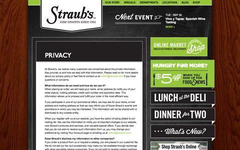 Screenshot of Privacy Page straubs.com - Privacy | Straub's - captured Sept. 30, 2014