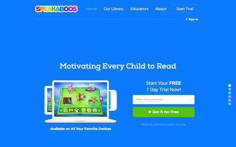 Screenshot of Home Page speakaboos.com - Children's Books Online | Free Trial | Speakaboos - captured July 3, 2015