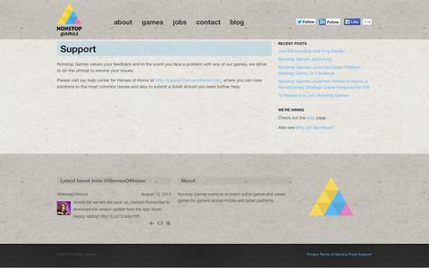 Screenshot of Support Page nonstop-games.com - Support | Nonstop Games - captured Sept. 16, 2014