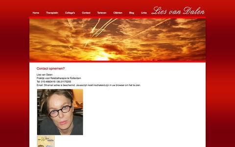 Screenshot of Home Page Contact Page lies-van-dalen.nl - Contact - Psychotherapie Rotterdam - captured Oct. 3, 2014