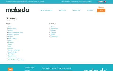 Screenshot of Site Map Page mymakedo.com - Makedo - captured Sept. 19, 2014