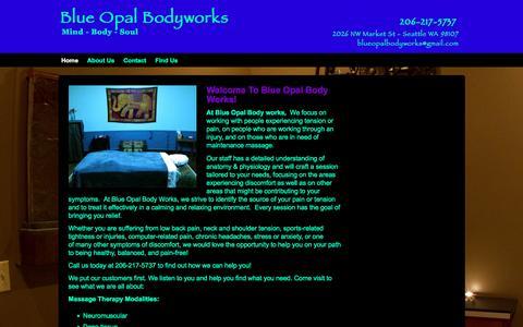 Screenshot of Home Page blueopalbodyworks.com - Blue Opal Bodyworks - captured Jan. 6, 2016