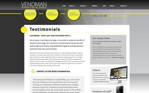 Screenshot of Testimonials Page vendman.com - Vendman - Testimonials - captured Nov. 5, 2014