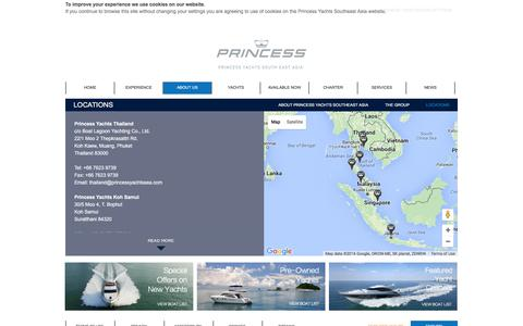 Screenshot of Locations Page princessyachtssea.com - Locations - Princess Yachts Southeast Asia - Official Distributor of Princess Yachts - captured Jan. 31, 2016