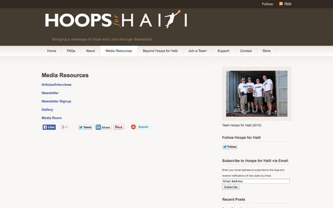 Screenshot of Press Page hoopsforhaiti.org - Media Resources   Hoops for Haiti - captured Sept. 30, 2014