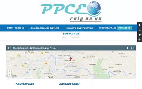 Screenshot of Contact Page ppceworld.com - Contact Us - captured Oct. 9, 2016