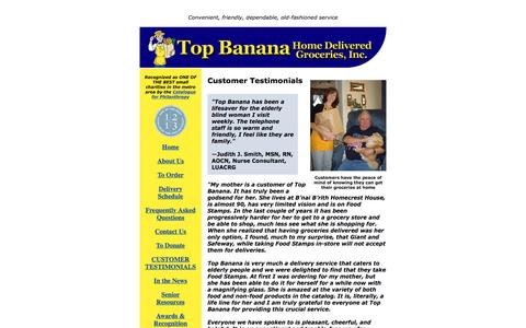 Screenshot of Testimonials Page topbananagrocer.org - Customer Testimonials | Top Banana Home Delivered Groceries - captured June 22, 2016
