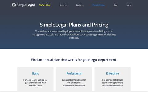 Screenshot of Pricing Page simplelegal.com - SimpleLegal Pricing | Flexible Pricing for In-House Counsel - captured March 24, 2018