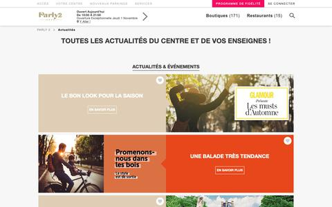 Screenshot of Press Page parly-2.com - Toutes les actualités du centre et de vos enseignes !  Parly 2 - captured Oct. 21, 2018