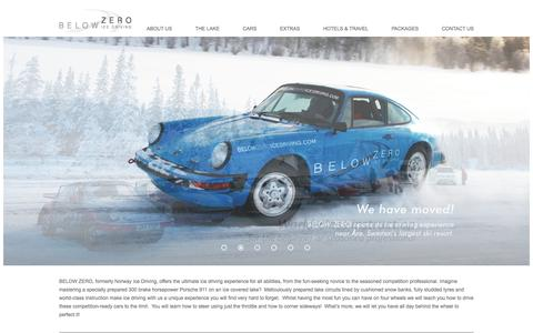 Screenshot of Home Page belowzeroicedriving.com - Below Zero Ice Driving | BELOW ZERO launched its ice driving packages in Norway in 2005 and since then has become one of the leading ice driving experience providers in Scandinavia. - captured Sept. 30, 2014