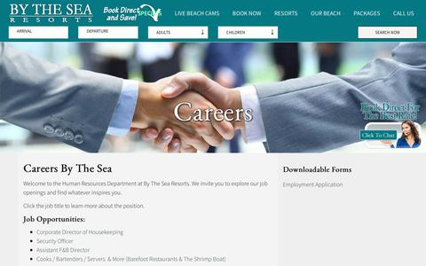 Screenshot of Jobs Page bythesearesorts.com - Employment Opportunities | By The Sea Resorts - captured July 4, 2018