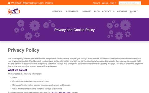 Screenshot of Privacy Page razoyo.com - Privacy and Cookie Policy - captured June 12, 2017