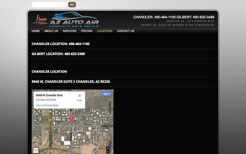 Screenshot of Locations Page azautoair.com - Locations | AZ Auto Air - Complete Auto RepairAZ Auto Air – Complete Auto Repair - captured Sept. 30, 2014