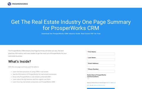 Screenshot of Landing Page prosperworks.com - Prosperworks | Real Estate Industry Guide - captured March 31, 2018