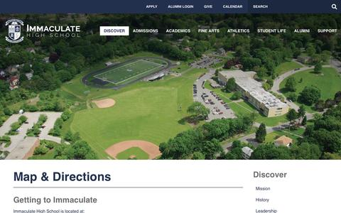 Screenshot of Maps & Directions Page immaculatehs.org - Map & Directions - Immaculate High School - captured Oct. 11, 2018