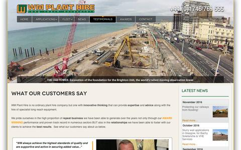 Screenshot of Testimonials Page wmplanthire.com - What Our Customers Say - WM Plant Hire - captured Dec. 3, 2016