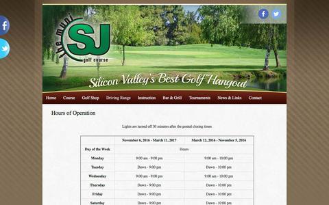 Screenshot of Hours Page sjmuni.com - Hours of Operation | San Jose Municipal Golf Course - captured Nov. 18, 2016