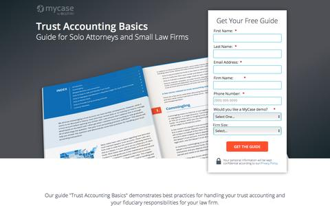 Screenshot of Landing Page mycase.com - Trust Accounting Basics :: MyCase Legal Resources - captured May 17, 2017