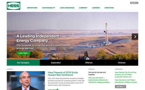Screenshot of Home Page hess.com - Hess Corporation | A Leading Independent Energy Company - captured May 21, 2019