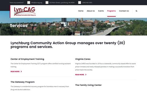 Screenshot of Services Page lyncag.org - Services – Lynchburg Community Action Group, Inc. - captured Sept. 30, 2018