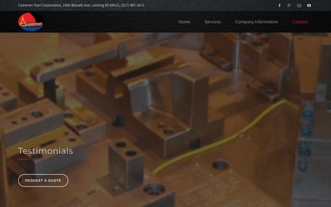 Screenshot of Testimonials Page camerontool.com - Testimonials - Cameron Tool Corporation Tool - captured Sept. 26, 2018