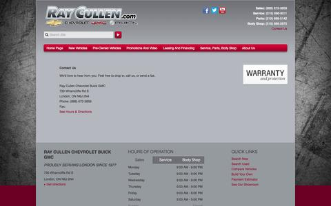 Screenshot of Contact Page raycullen.com - Contact Us at Ray Cullen Chevrolet Buick GMC in London, ON - Buick, Chevrolet, GMC - captured Oct. 7, 2014
