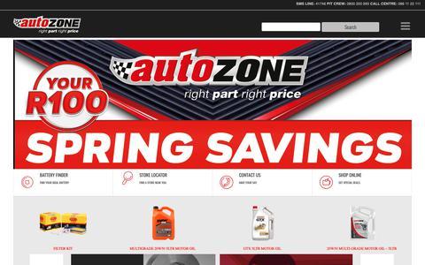 Screenshot of Home Page autozone.co.za - AutoZone | Auto Parts & Auto Spares Store | Aftermarket Parts - captured Oct. 4, 2018
