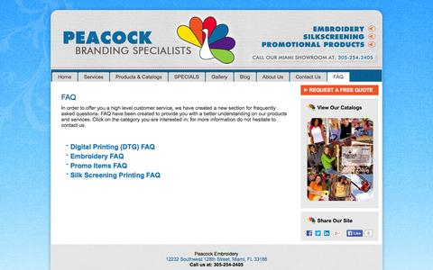 Screenshot of FAQ Page peacockembroidery.com - FAQ | Embroidery Miami - Peacock Embroidery - captured Oct. 2, 2014