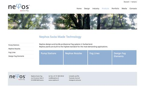 Screenshot of Products Page nephos.ch - Products - Nephos Swiss Fog - Mist & Fog System - captured Oct. 15, 2017
