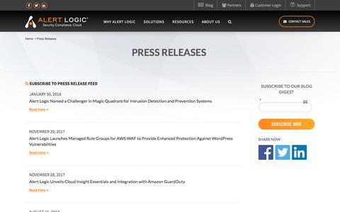 Press Releases | Alert Logic