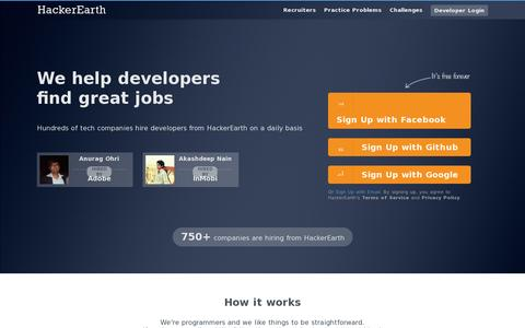 Screenshot of Home Page hackerearth.com - HackerEarth | We help developers find great jobs - captured July 11, 2014