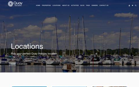 Screenshot of Locations Page quayholidays.co.uk - Locations | Poole's Premium Letting Specialists, Quay Holidays - captured July 23, 2018