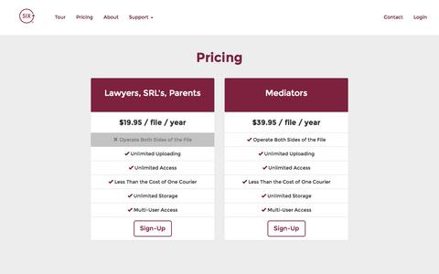 Screenshot of Pricing Page yoursix.ca - SIX | Pricing - captured Oct. 3, 2014