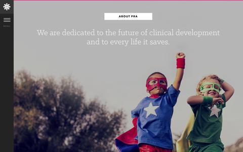 Screenshot of About Page prahs.com - About PRA - PRA Health Sciences - captured July 9, 2017