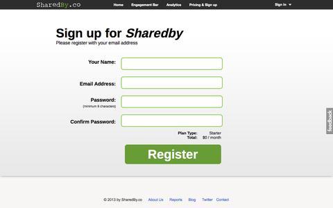 Screenshot of Signup Page sharedby.co - SharedBy Engagement Bar & Social Analytics - captured Sept. 13, 2014