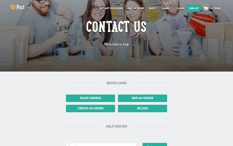Screenshot of Contact Page pactcoffee.com - Pact | Contact Us - captured May 30, 2018