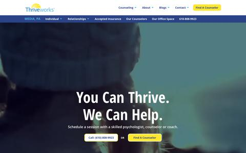 Screenshot of Press Page thriveworks.com - Media Counseling - Therapy, Coaching, Mental Health Services - captured Sept. 19, 2018